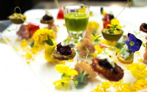 Spring inspired canapes with edible flowers
